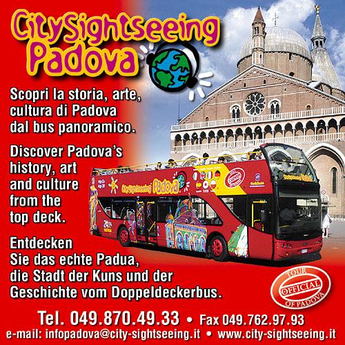 Pubblicità rivista CitySightseeing Padova (tour turistico in autobus per la città)
