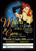"""Pubblicità. Manifesto per concerto: """"Milva e il Tango di Astor Piazzolla"""", Goro, Ferrara."""